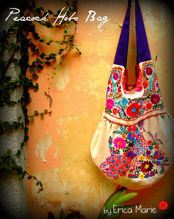 Mexican Embroided Dress into a Hobo Bag
