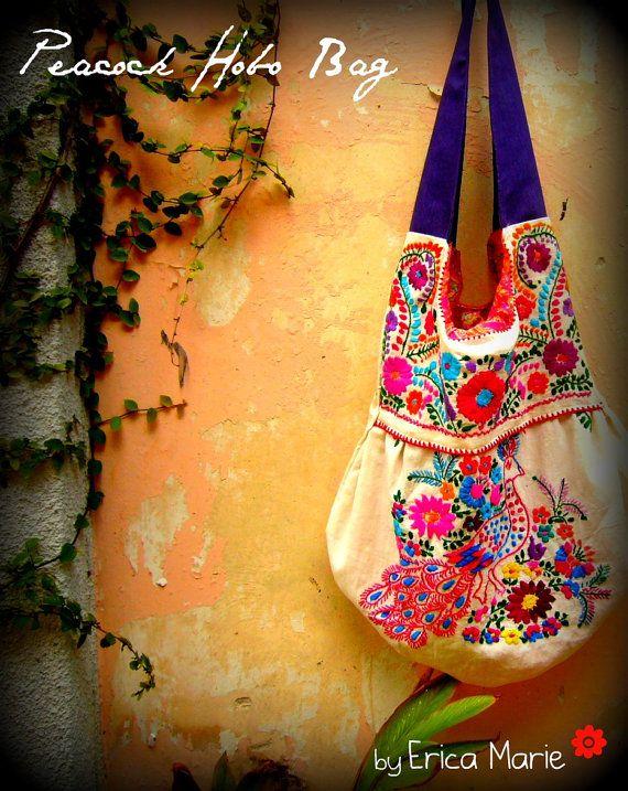 Mérida Hobo bordado bolso con pavo real envio gratis por EricaMaree, $103.00