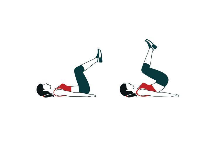 Hanyatt fekve pihentesd a kezeidet lefelé fordítva a tested mellett, emeld fel kissé hajlított térddel a lábaidat, majd innen 30-szor döntsd a lábaidat a törzsed felé úgy, hogy felemelkedik a csípőd.