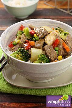 Beef & Vegetable Stir Fry. #HealthyRecipes #StirFryRecipes #WeightLoss #WeightlossRecipes weightloss.com.au