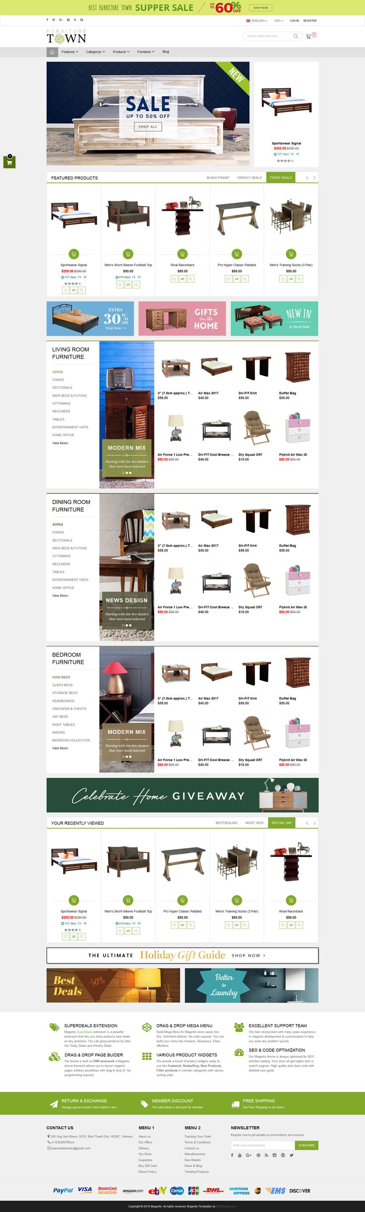 Furniture Store Magento 2 Theme & Magento 1.9 Theme - Homepage