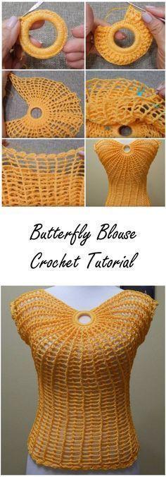 Butterfly Blouse Crochet Tutorial #Crochê