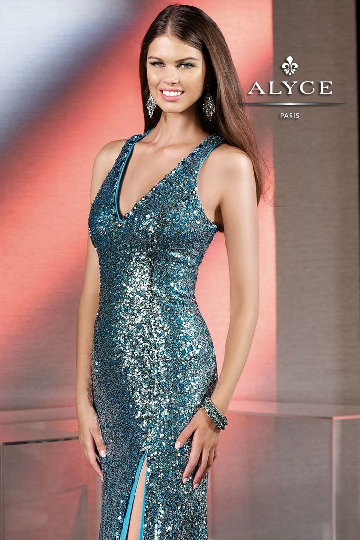 Alyce 2013 Turquoise Sequin V-neck Long Fitted Prom Dress With a Slit 35546 | Promgirl.net