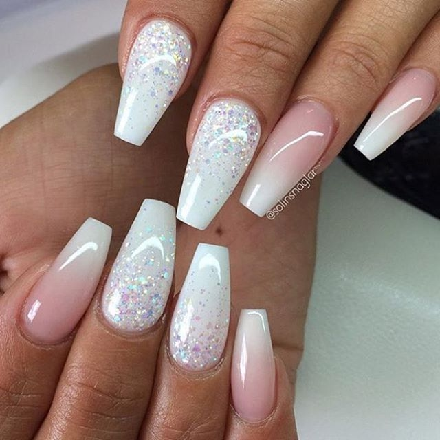 Best 25 ombre nail ideas on pinterest prom nails acrylic ombre white glitter nails mixed with baby boom prinsesfo Image collections
