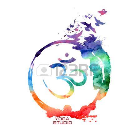 Vecteur aquarelle isol e Om signe tiquette Concept de Yoga arc en  Banque d'images