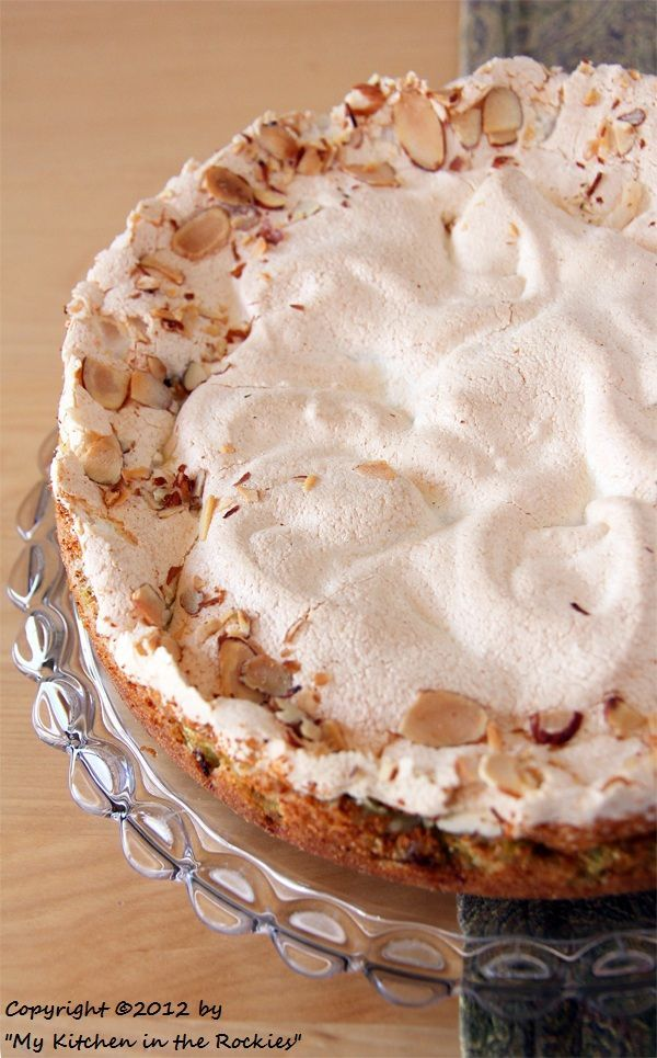 German Rhubarb Cake with Meringue Topping