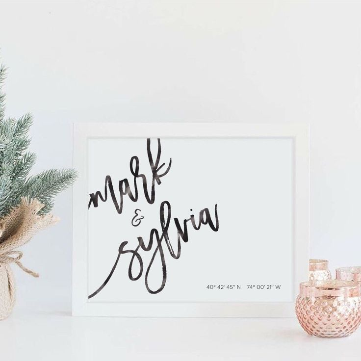 What gift to get a couple who has everything? How about a personalized calligraphy print of their names, and location coordinates of their special place?