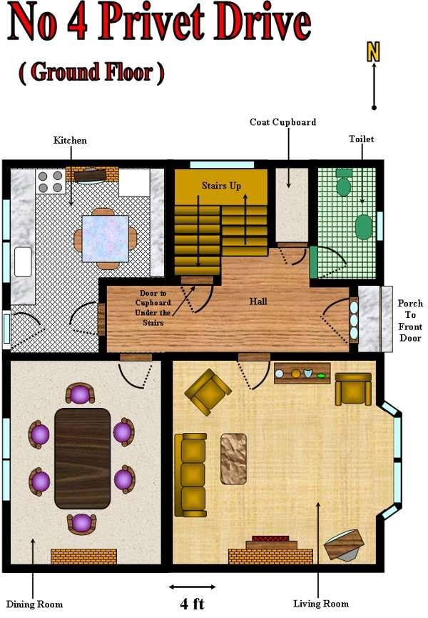 5 Tiny House Designs 2019 Plan Designs Around The World: Number 4 Privet Drive Floor Plan