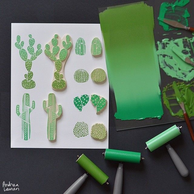 Worked up a carved collection of cacti this afternoon! Looking forward to block printing these on textiles soon and hopefully adding  them to my growing collection of silkscreen prints as well! Love to ink•print•repeat