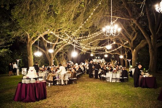 Love this night time reception with twinkling lights from a Green and Purple Outdoor Wedding in Charleston, South Carolina | planning by www.duvallevents.com | photo by www.kingstreetstudios.com