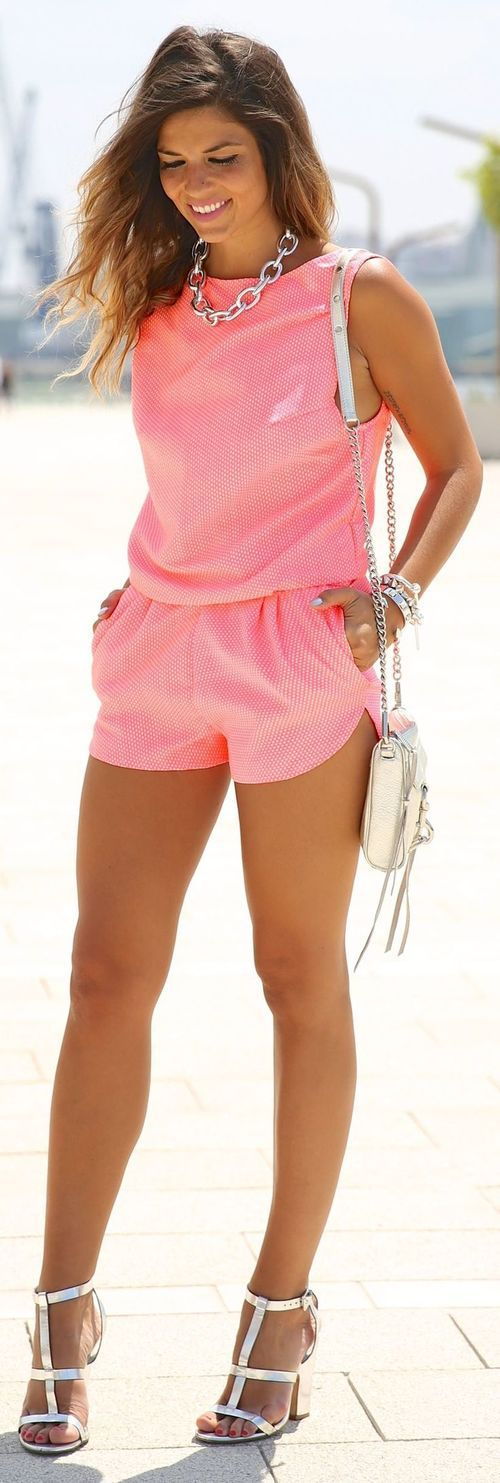 Mekdes Pink Sporty Tailored Polka Dot Playsuit by TrendyTaste  -- 60 Great Summer - Fall Outfits @styleestate