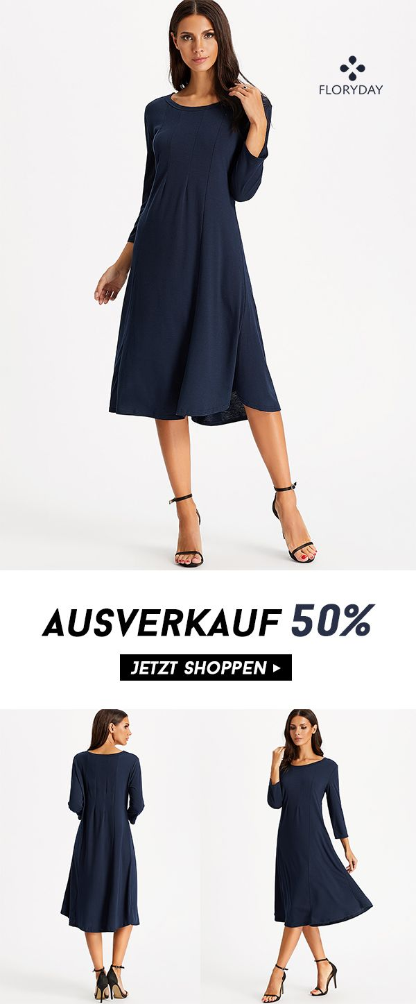 Solides 18/18-armiges Midi-Kleid mit Rundhalsausschnitt  Kleider