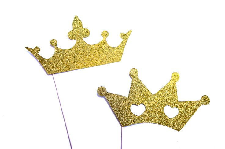 Photo Booth Props - Prince and Princess Crowns with GLITTER - Photobooth Props. $15.00, via Etsy.