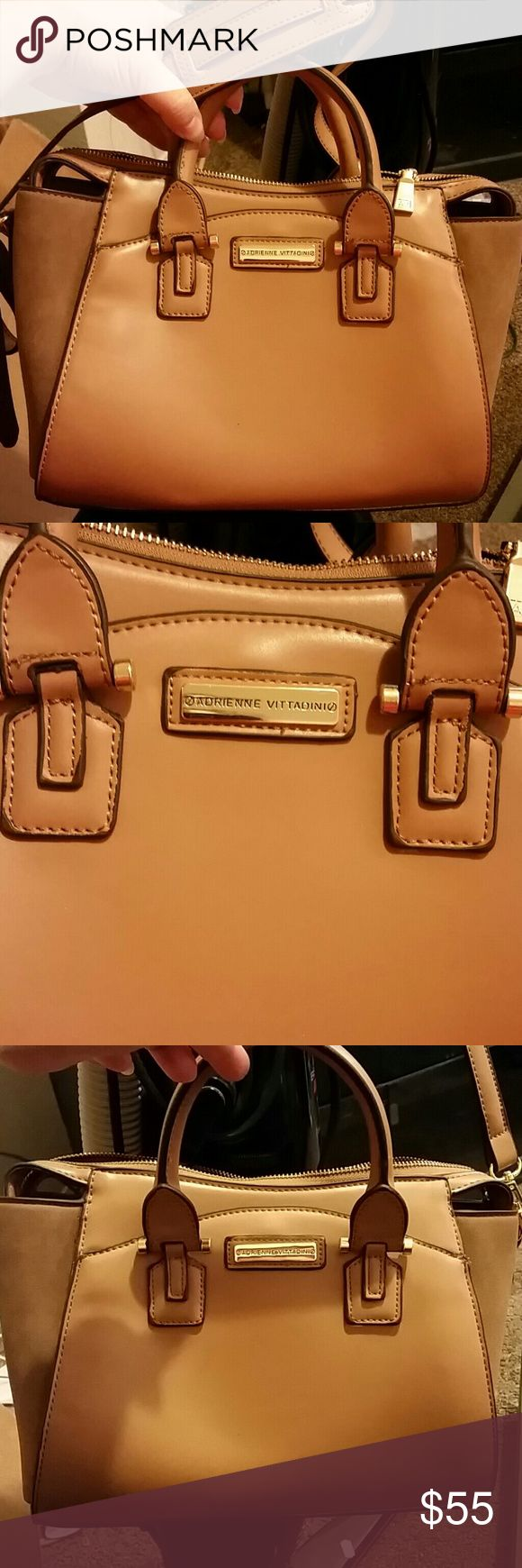 NEW ADRIANNE VITTADINI TAN & GOLD SATCHEL Brand New Perfect Condition Suede Sides Gold Hardware is BEAUTIFUL  MEASURES: 14L*9H*5 REINFORCED CROSSBODY STRAP: 55 INCH ADJUSTABLE SATCHEL STRAPS: 8 INCH STRAP DROP Adrienne Vittadini Bags Satchels