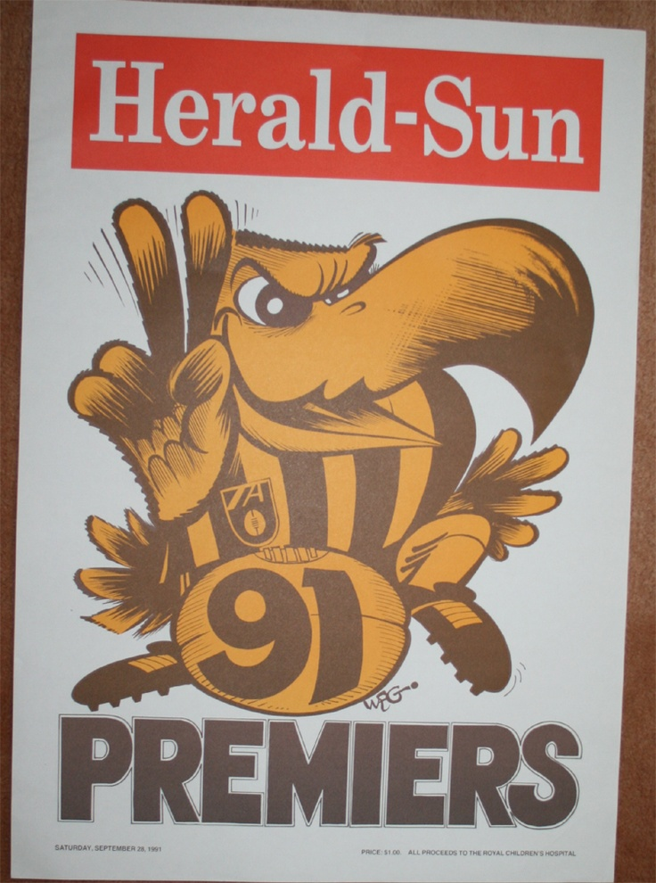 Weg Premiers Poster 1991 Hawthorn Hawks