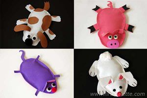 Animal Bean Bags craft!! Make an animal shape out of the bean bag and decorate the eyes mouth and nose with paper felt!!