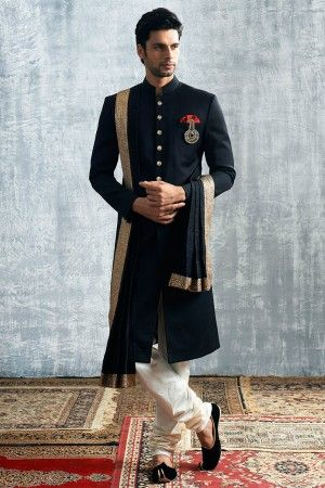 Black Cotton Sherwani