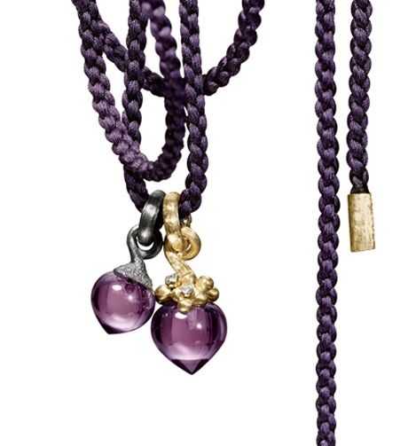 Ole Lynggaard Copenhagen Small amethyst dew drop in silver and a large amethyst and diamond dew drop in silver on a purple mokuba twisted silk string with 18ct yellow gold ends - Kennedy Jewellers