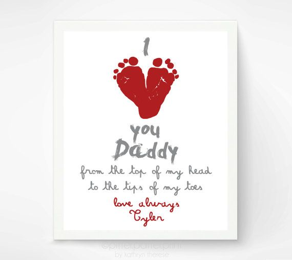 Valentines Day Gift for New Dad - I Love You Daddy Baby Footprint Art Print, Red Heart,  Baby's First Valentines Day, Gift for Grandfather on Etsy, $30.00