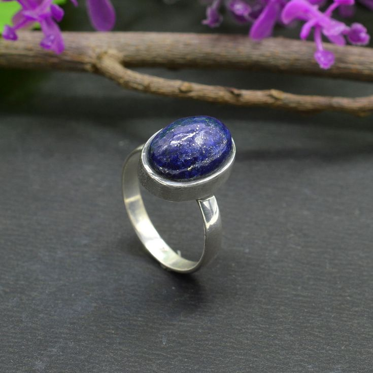 925 Solid Sterling Silver Lapis Lazuli Gemstone Handmade Mens Ring Size 8.5 R308 #Handmade #Cluster #Party