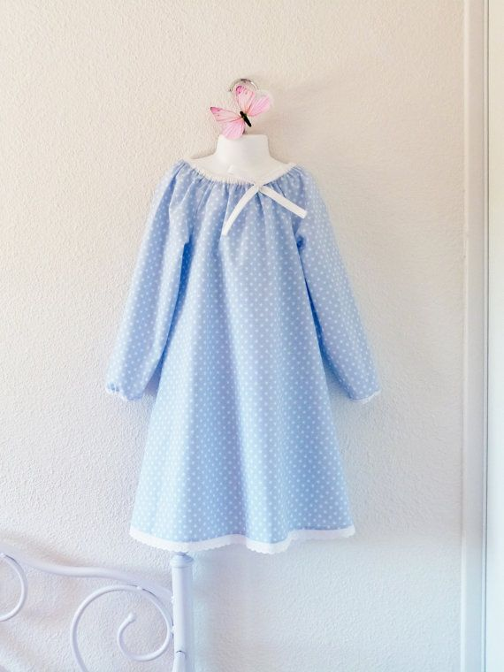 Girl long sleeves nightgown printed with white par LittlePoupettes