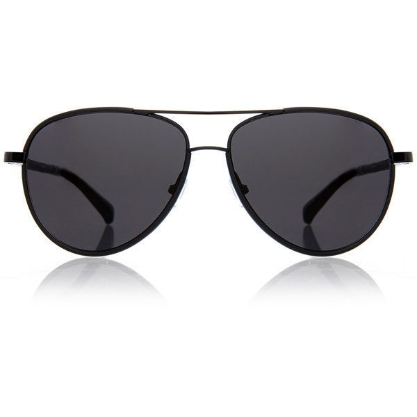 The Row Black Leather-Detail Aviator Sunglasses ($200) ❤ liked on Polyvore featuring accessories, eyewear, sunglasses, glasses, black, lens glasses, aviator sunglasses, black sunglasses, uv protection sunglasses and black glasses