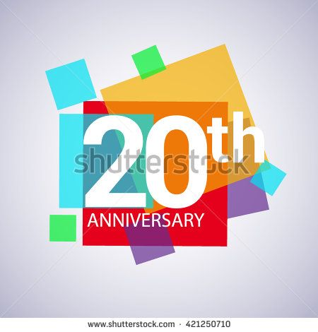 20th anniversary logo, 20 years anniversary colorful vector design. geometric background. - stock vector
