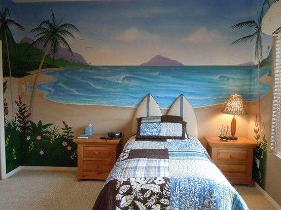 Love the surfboard headboard bryce 39 s new surf room for Beach themed bedroom ideas pinterest