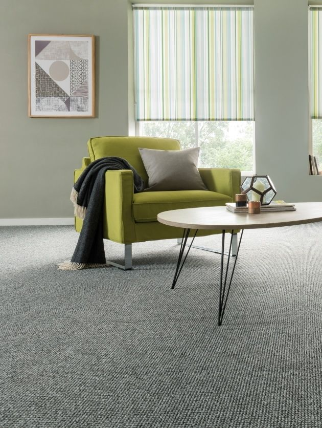 Greys are the new neutral, add bright pops of colour to brighten the room, Green goes perfectly. Plain grey carpet that tonally matches the walls are perfect partners. Keep the accessories and furniture simple with slight hints of pattern, mixing geometric shapes look great!
