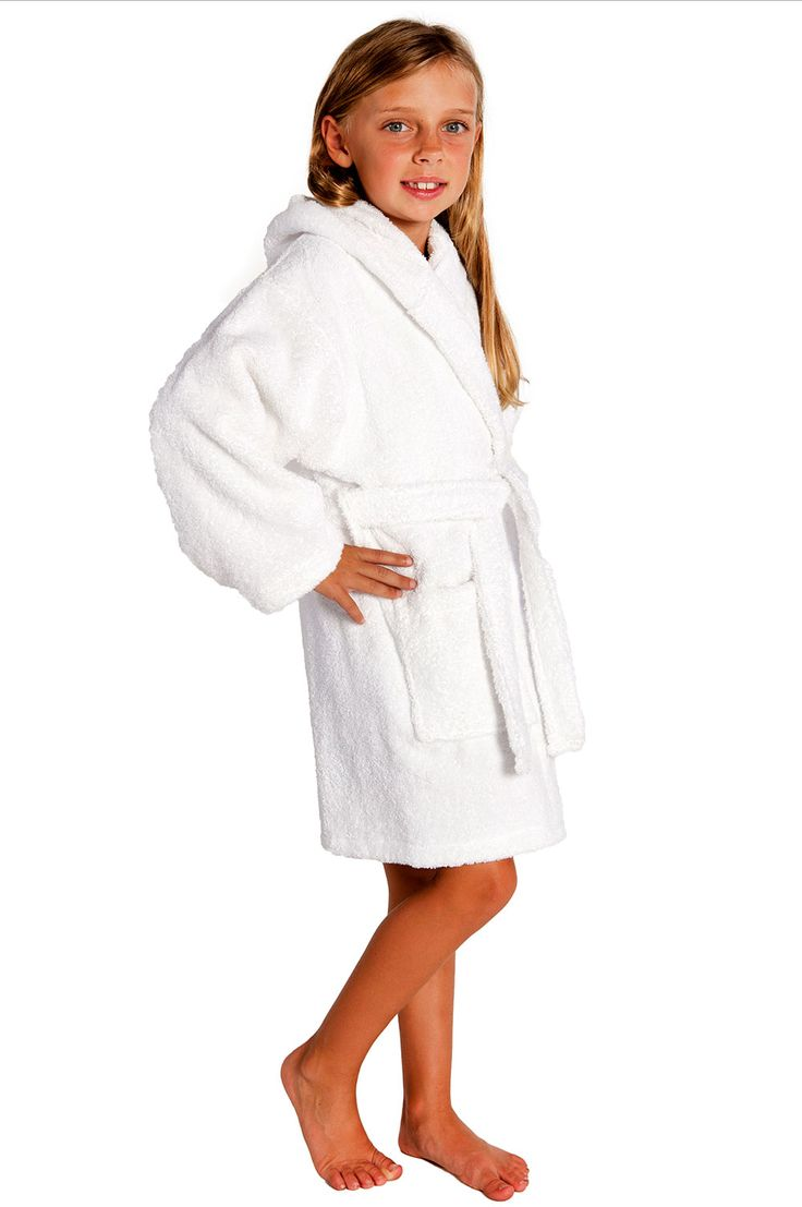 Kids Bathrobes :: White Hooded Terry Kid's Bathrobe - Wholesale bathrobes, Spa robes, Kids robes, Cotton robes, Spa Slippers, Wholesale Towels