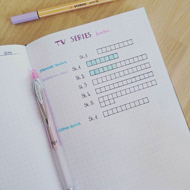 Tv series tracker -inspired by #pinterest 😊 #bulletjournal #bulletjournaling #bulletjournalcommunity #bulletjournallove #bulletjournalitalia #bulletjournaljunkies #bujo #bujolove #bujocommunity #bujojunkies #plan #planner #planning #lovemyplanner #planneraddict #plannernerd #stationery #stabilo88 #papermate #inkjoy #uniball #pen #pencil #staedtler #lovemybulletjournal #showmeyourplanner