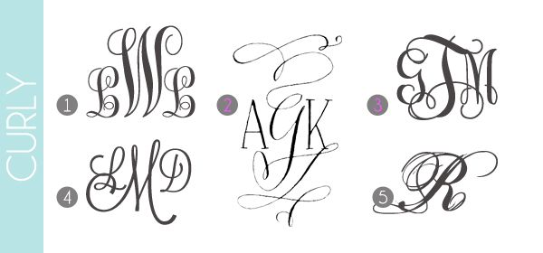 Monograms Made Easy: Curly Fonts | Damask Love Blog | lots more monogram examples & free fonts!