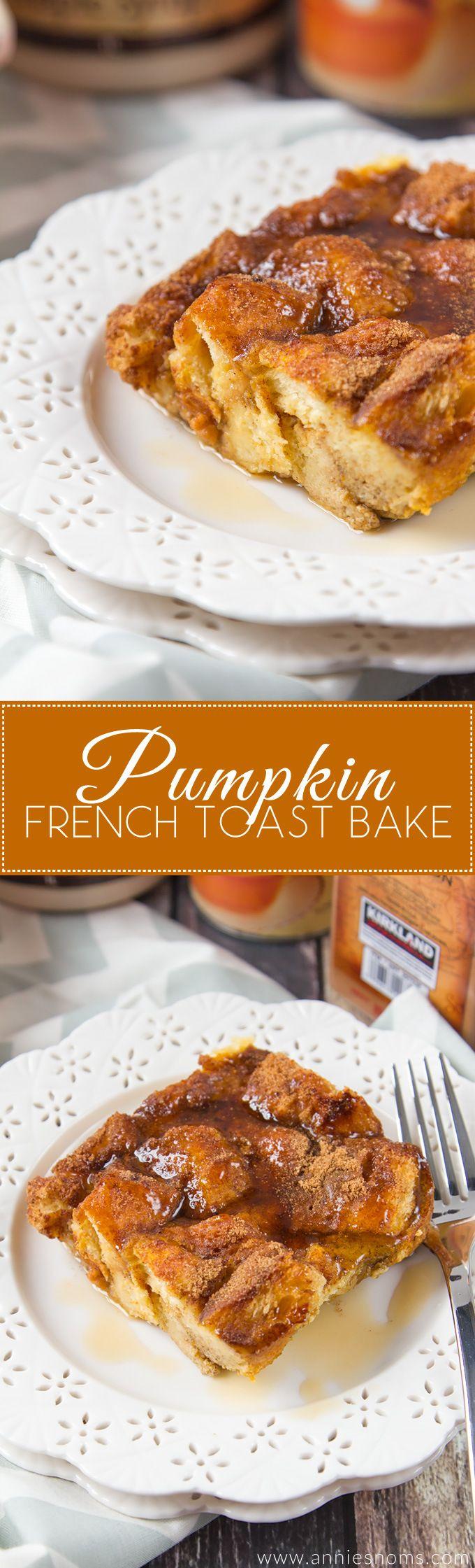 Cubes of bread soaked in a spiced, pumpkin filled custard before being baked until crisp on top. This Pumpkin French Toast Bake is without doubt, the best decadent breakfast recipe!