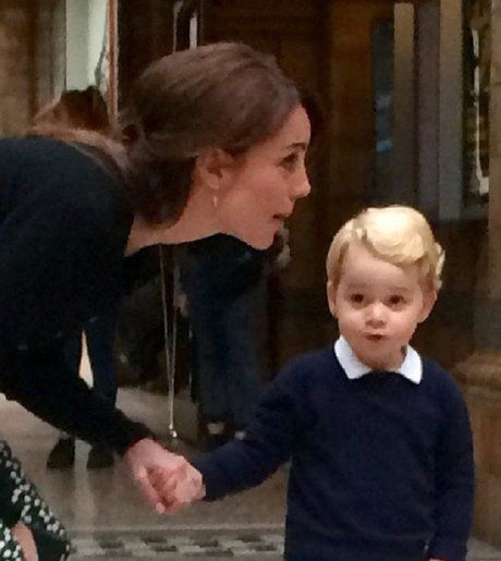 Kate & George at the Natural History Museum. Awesome picture for Duchess Kate.