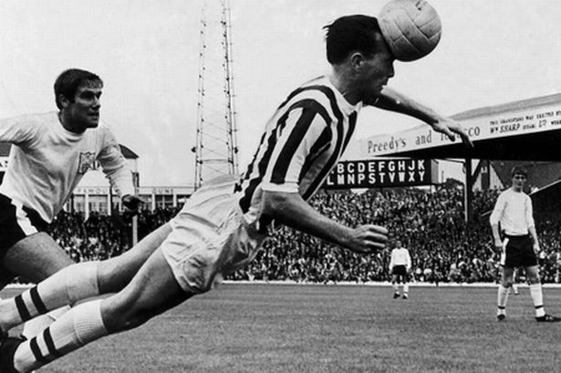 Jeff Astle heading another goal.