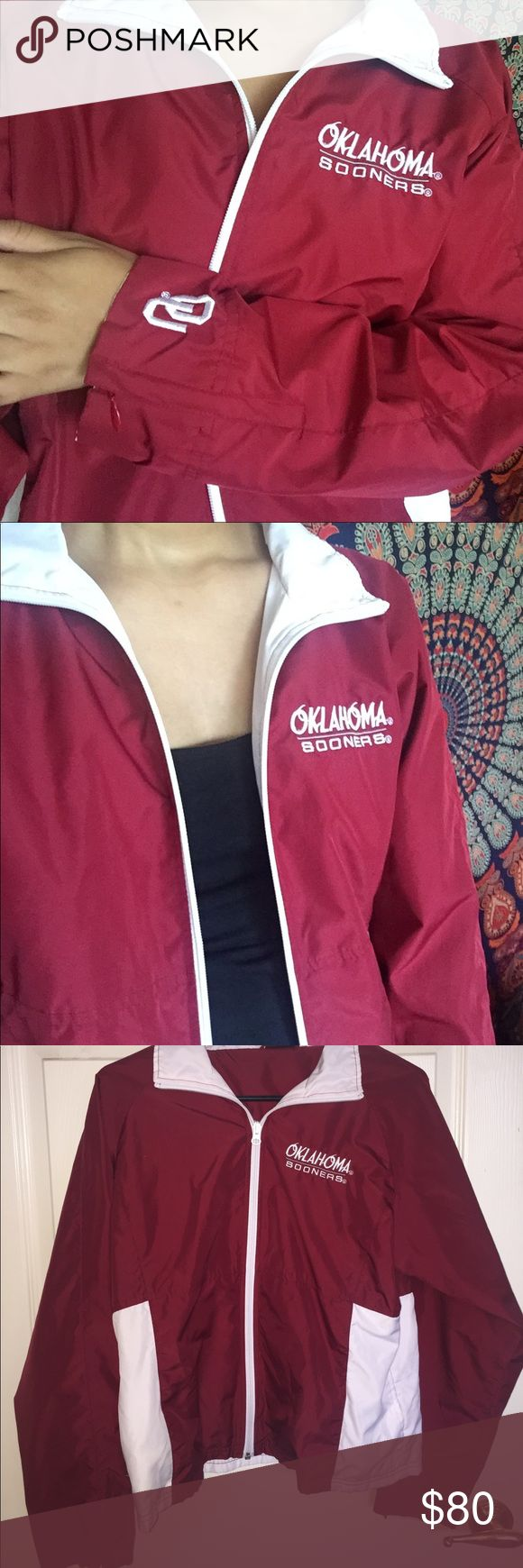 OU SOONERS Sportswear Jacket Crimson and white zip up jacket. Says Oklahoma Sooners on the front, OU logo on end of right sleeve. In great condition. 2 very small stains on the back (shown in last photo). Jackets & Coats