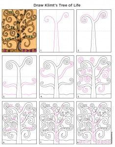 How to draw Klimt's Tree of Life. PDF tutorial available. #artprojectsforkids #treeoflife