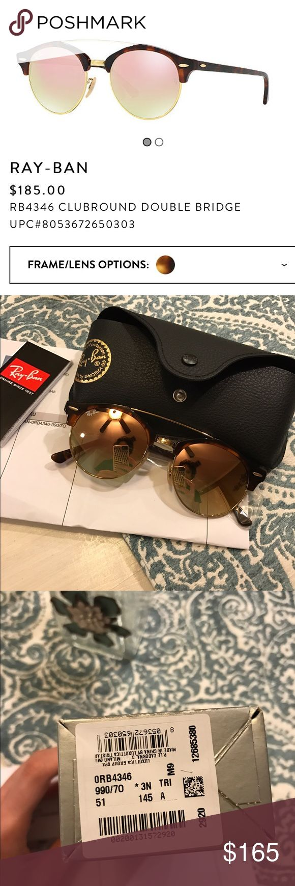 """Rayban Clubmaster Double Bridge Tortoise Rose Gold BNIB Rayban ClubRound Clubmaster Tortoise and Rose Gold /Copper Flash 51mm sunnies!  Sooo gorgeous, and the newest hottest style 💖😍 But my teenage daughter so graciously informed me that they are """"too small for my face""""...😩😂.  Does that mean I have a big head..?  Idk lol. Anyway.  Price is firm-ish .... just trying to recoup what I paid.   Open to trades for equal value though.  All boxes, cases, tags and proof of purchase included…"""