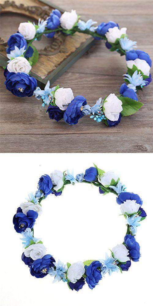 Cfrmall Flower Wreath Headband Crown Floral Garland for Festival Wedding (Dark blue&Royal blue&White)