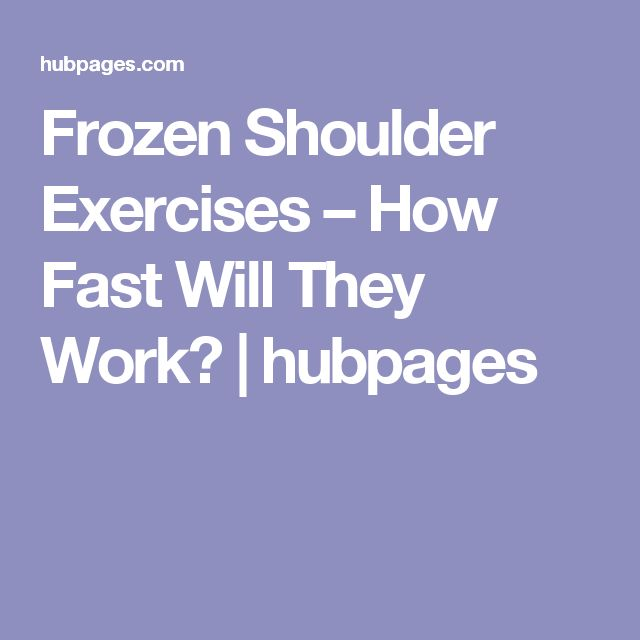 Frozen Shoulder Exercises – How Fast Will They Work? | hubpages
