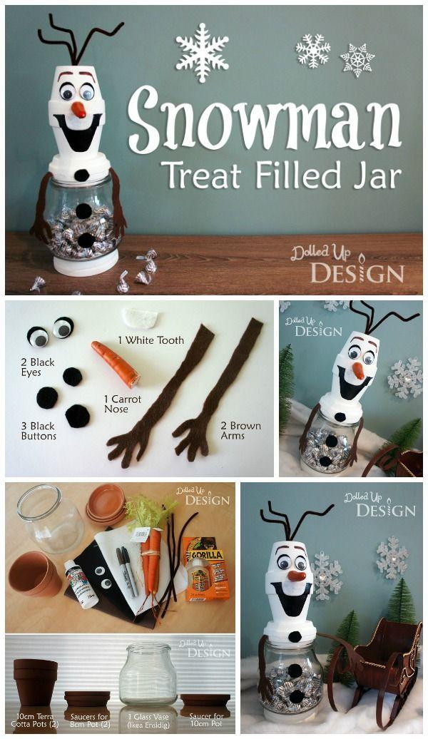 Olaf Jar DIY Craft http://www.momsandmunchkins.ca/2014/08/19/olaf-craft/ #Frozen #Crafts #Christmas