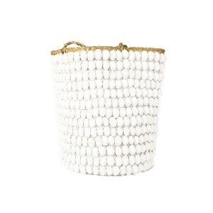 Basket with White Shell and Handle  ww.st-barts.com.au