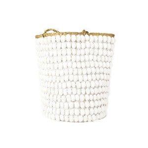 Basket with White Shell and Handle  ww.st-barts.com.au