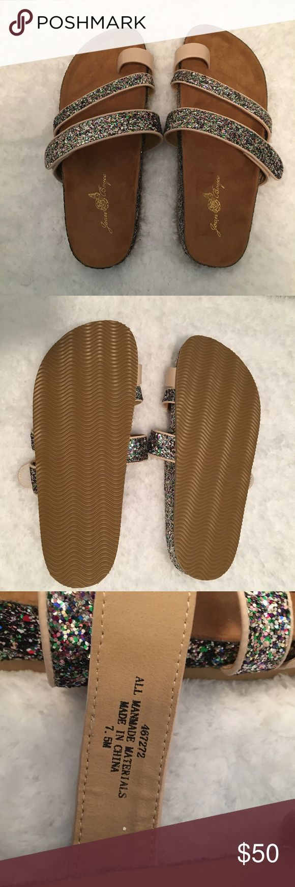 "Joan Boyce ""Mary"" Glitter Comfort Sandals Beautiful multi-colored glitter sandals! 7.5 M. Super comfortable and great for the summer! The strap adjusts to size! Never worn! From HSN Shoes Sandals"