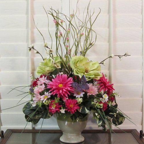 Summer silk flower arrangement floral centerpiece magnolia
