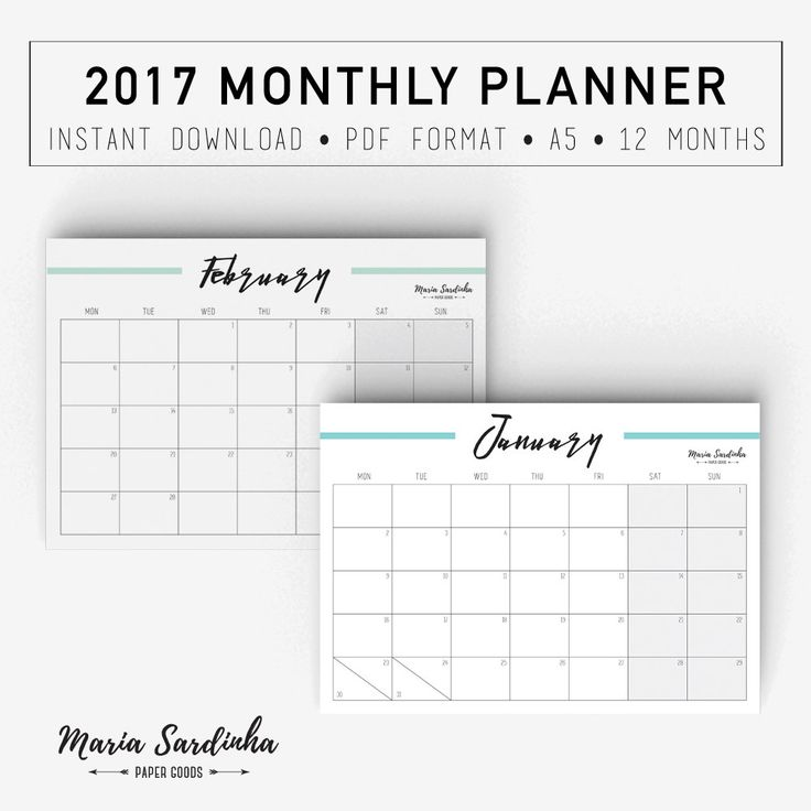 Best 25+ Monthly planner 2017 printable ideas on Pinterest 2017 - printable monthly planner