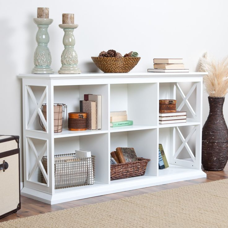 Belham Living Hampton Console Table 2 Shelf Bookcase White Oak A Hayneedle Exclusive The