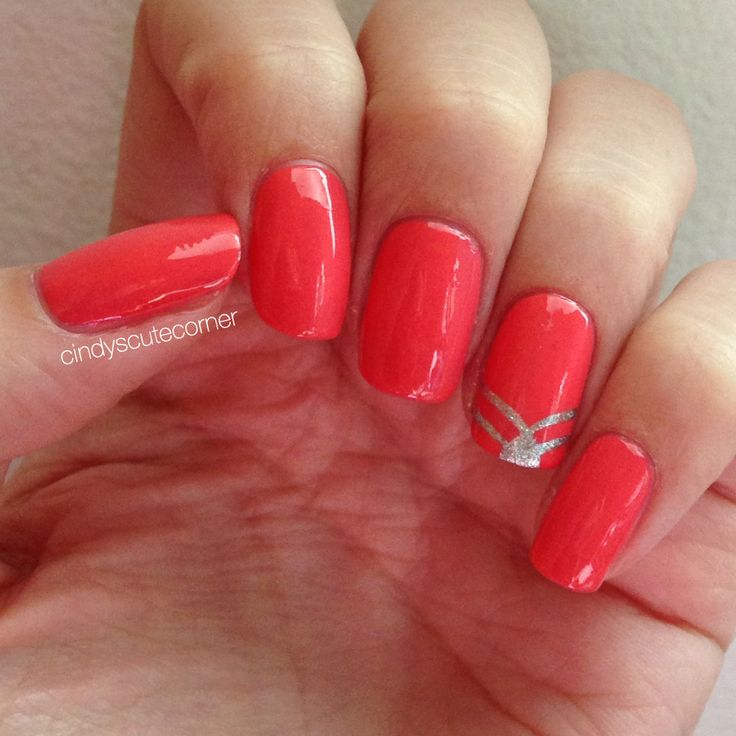 Coral and Silver Nails. Very simple nail design