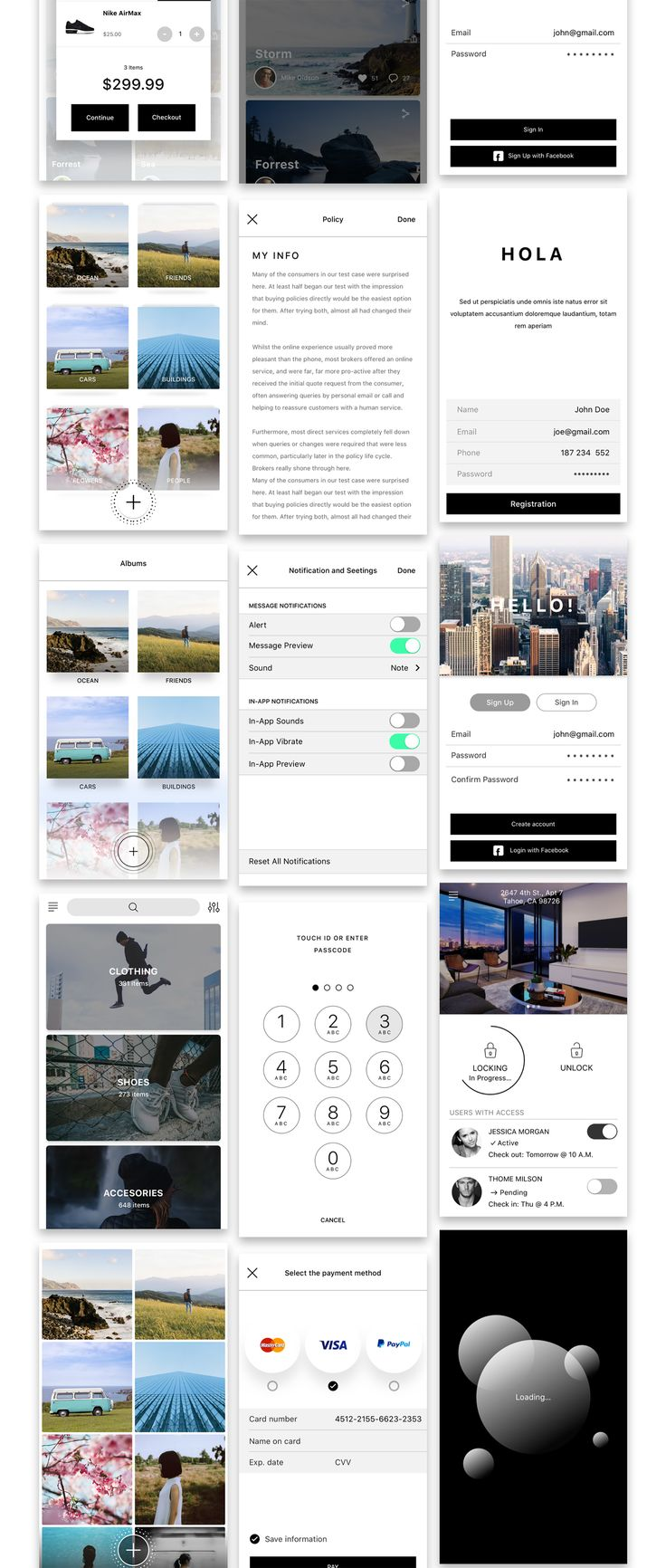 Heeeeey, Hello UI Kit Mod. 2! This mobile UI Kit kit includes more than 160 unique screens, 700+ vectored custom UI elements for developers and iOS apps designers designed in Sketch. All the elements, blocks and galleries can easily be combined. As all the objects are created using shapes. This set would be a great match for your app! Hello UI Kit Mod. 2 features Sf fonts, neatly organized layers & easy customization. Categories include; Social, Menu, Activity, Statistics, Profiles, E-Com...