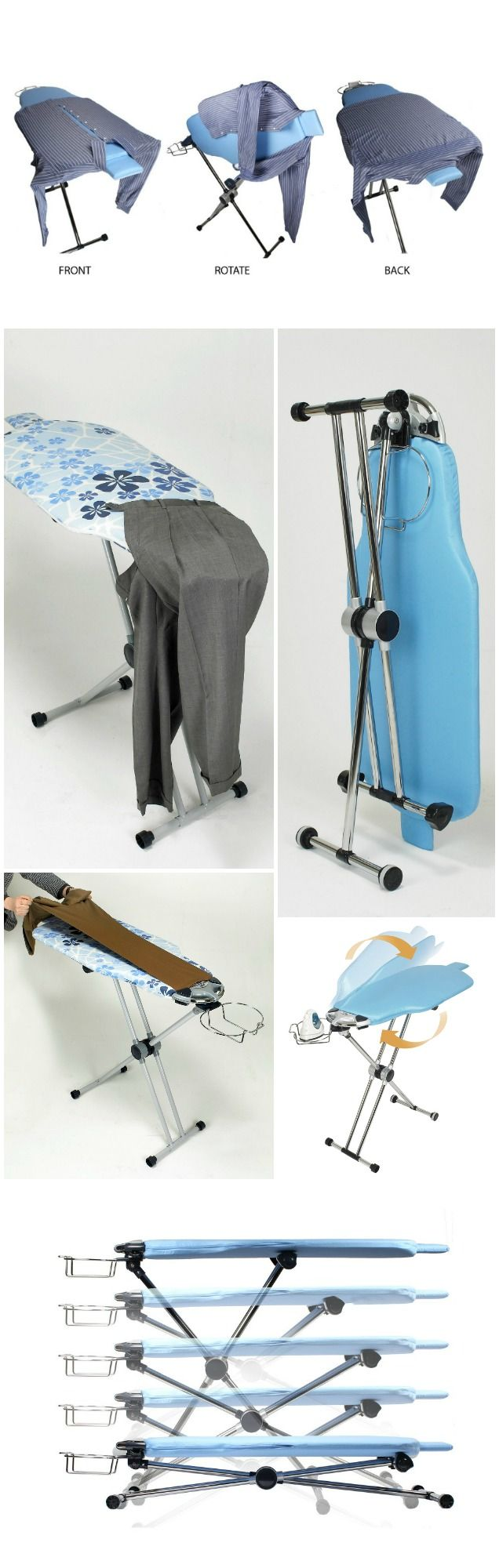 Dazzl 360 is the first rotating ironing board that lets you flip the ironing board over to iron both sides of the shirt or blouse.